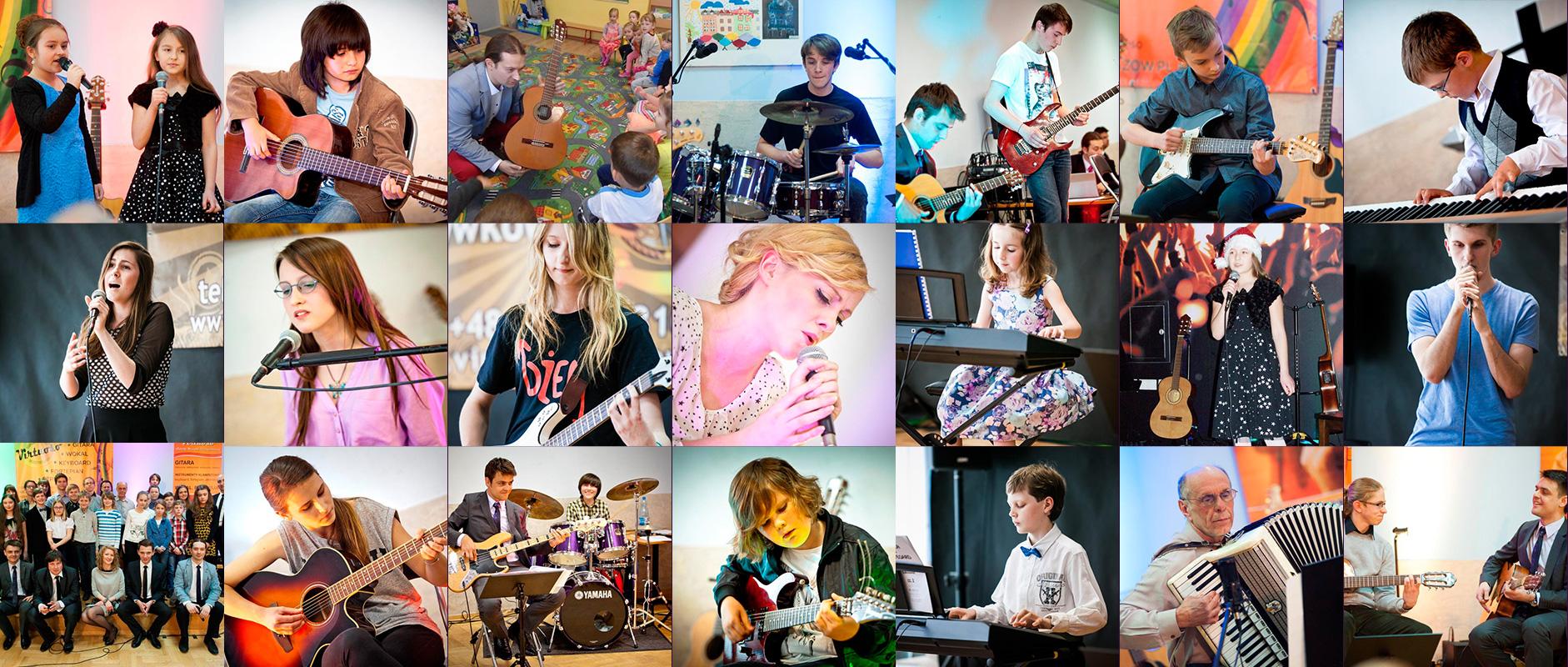 Uczniowie szkoły muzycznej Virtuoso w trakcie swoich występów.