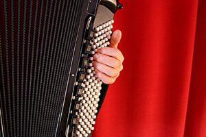 akordeon na tle czerwonego materiału